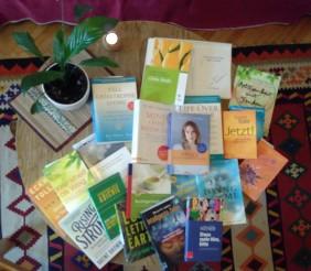 Das Bild zeigt verschiedene Bücher, die auf einem Tisch angeordnet sind, mit einer Pflanze und einer Kerze