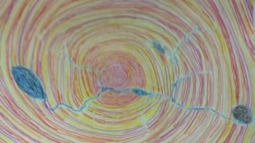 Zu sehen ist eine Zeichnung. Es ist ein abstraktes Bild. Es zeiht eine Spirale aus warmen Farben