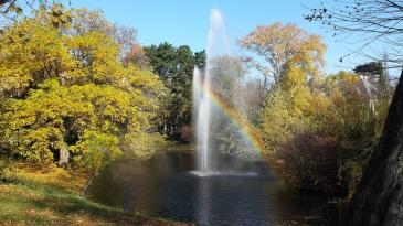 Bild zeigt einen Teich in einem Park. Bäume leuchten in herbstlichen Farben. Eine Fontäne schießt Wasser in die Luft. Dahinter bildet sich ein Regenbogen