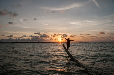 Bild zeigt Ozean mit ruhigen Wellen bei Sonnenuntergang mit einer Person die auf einem umgefallenen Palmenstamm balanciert